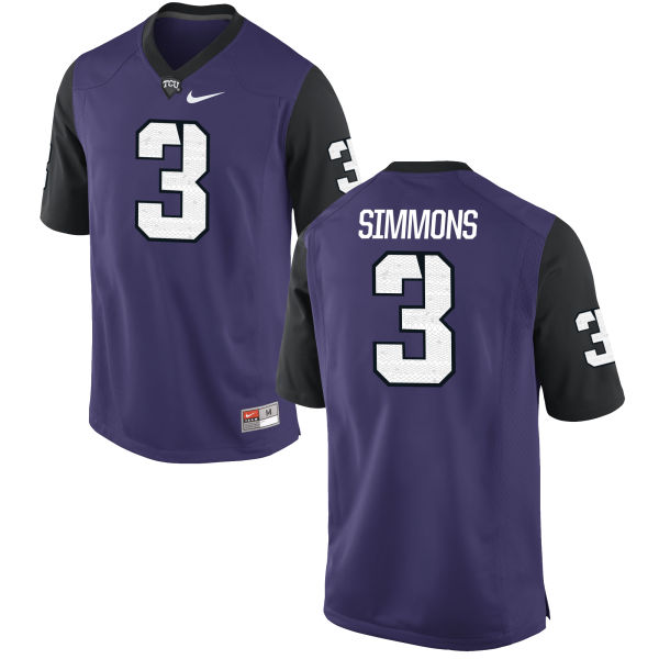 Men's Nike Markell Simmons TCU Horned Frogs Game Purple Football Jersey