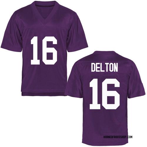 Men's Alex Delton TCU Horned Frogs Game Purple Football College Jersey