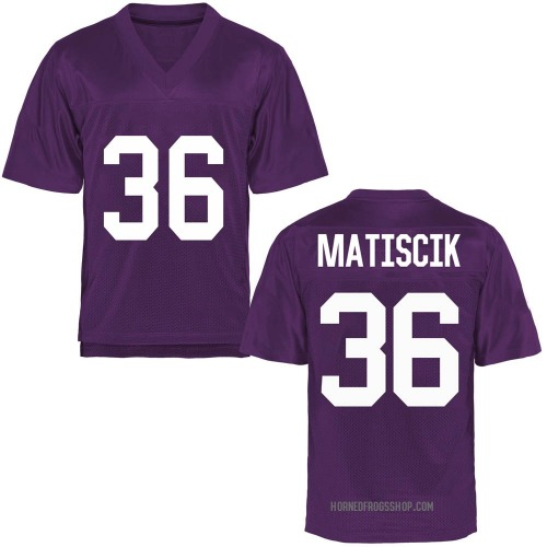 Men's Brent Matiscik TCU Horned Frogs Replica Purple Football College Jersey