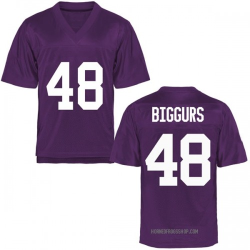 Men's Caleb Biggurs TCU Horned Frogs Game Purple Football College Jersey