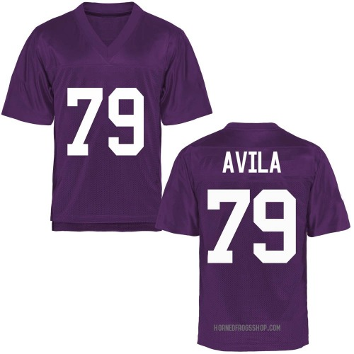 Men's Esteban Avila TCU Horned Frogs Game Purple Football College Jersey
