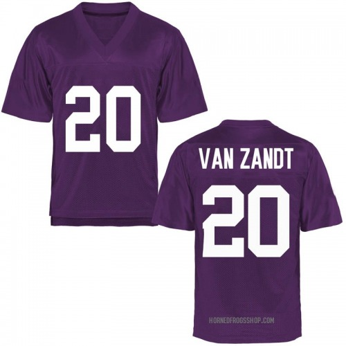 Men's Lakendrick Van Zandt TCU Horned Frogs Game Purple Football College Jersey