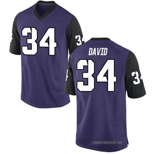 Men's Nike Andrew David TCU Horned Frogs Replica Purple Football College Jersey