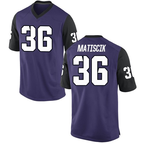 Men's Nike Brent Matiscik TCU Horned Frogs Replica Purple Football College Jersey