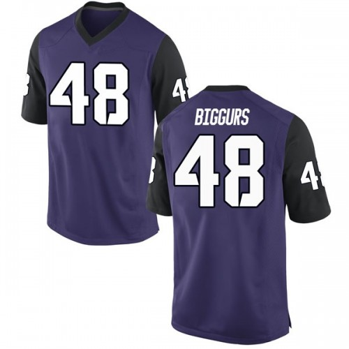 Men's Nike Caleb Biggurs TCU Horned Frogs Game Purple Football College Jersey