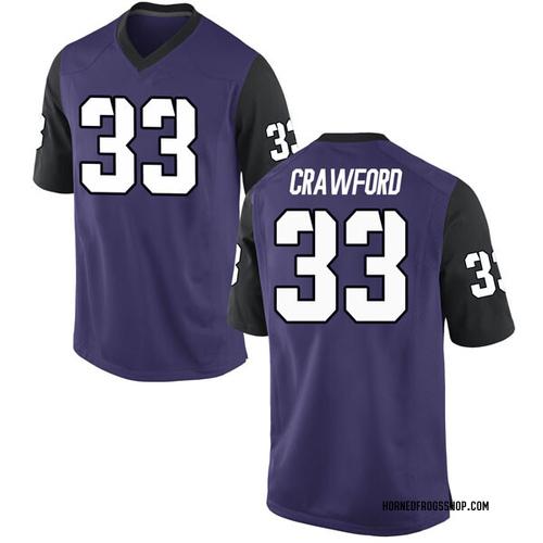Men's Nike Clayton Crawford TCU Horned Frogs Game Purple Football College Jersey