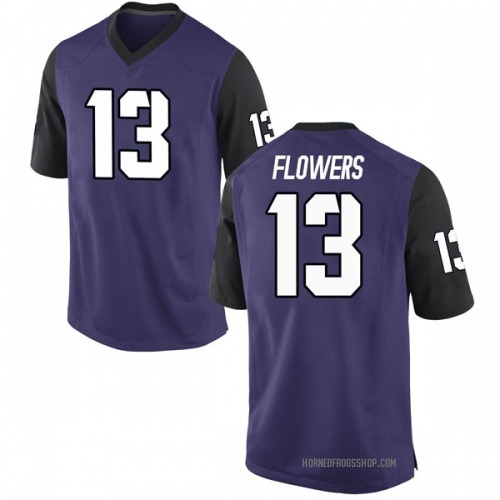 Men's Nike Darrion Flowers TCU Horned Frogs Game Purple Football College Jersey