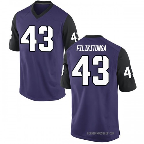 Men's Nike Izaih Filikitonga TCU Horned Frogs Game Purple Football College Jersey
