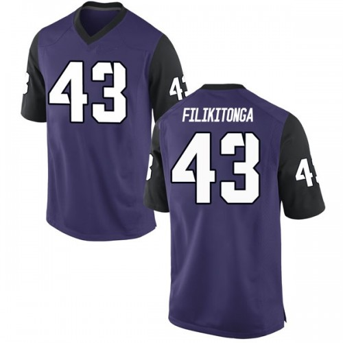 Men's Nike Izaih Filikitonga TCU Horned Frogs Replica Purple Football College Jersey