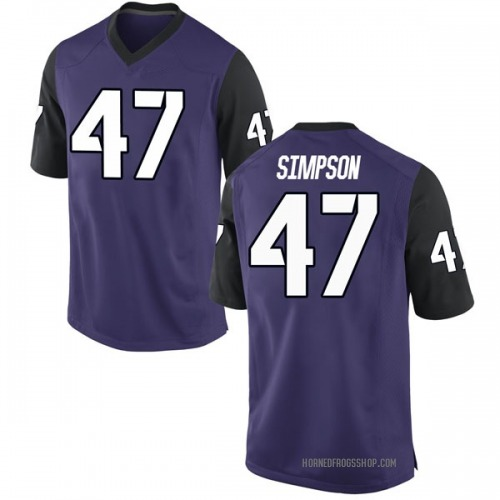 Men's Nike Jacoby Simpson TCU Horned Frogs Game Purple Football College Jersey