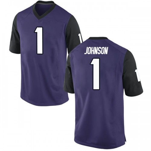 Men's Nike Jawuan Johnson TCU Horned Frogs Replica Purple Football College Jersey