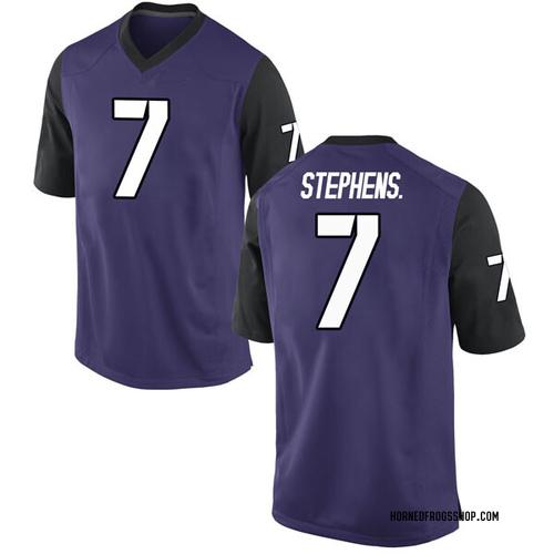 Men's Nike John Stephens Jr. TCU Horned Frogs Replica Purple Football College Jersey