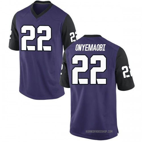 Men's Nike Michael Onyemaobi TCU Horned Frogs Game Purple Football College Jersey
