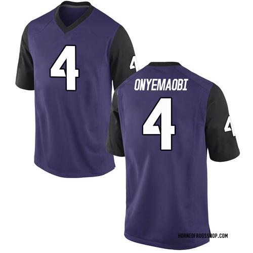 Men's Michael Onyemaobi TCU Horned Frogs Game Purple Football College Jersey