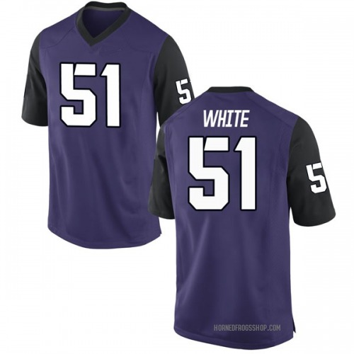 Men's Nike Quazzel White TCU Horned Frogs Replica Purple Football College Jersey