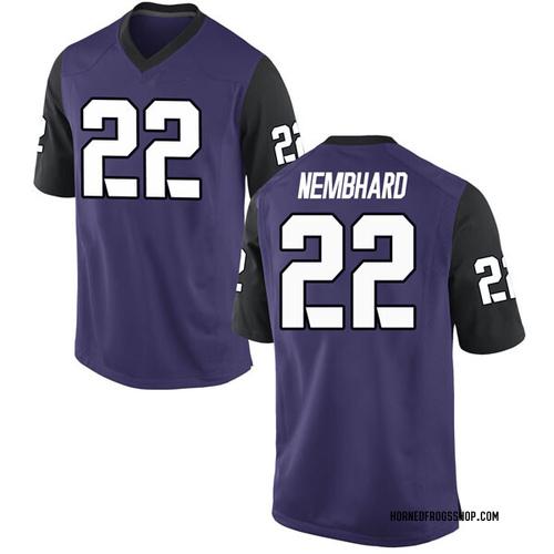 Men's Nike RJ Nembhard TCU Horned Frogs Replica Purple Football College Jersey