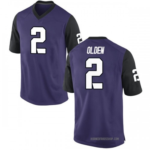 Men's Nike Shawn Olden TCU Horned Frogs Game Purple Football College Jersey