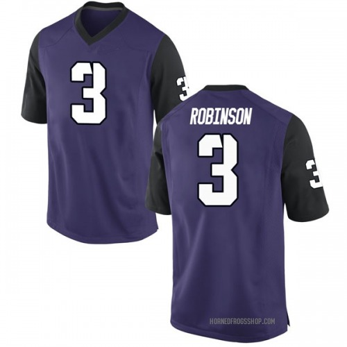 Men's Nike Shawn Robinson TCU Horned Frogs Replica Purple Football College Jersey