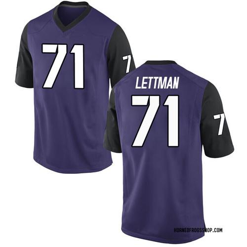 Men's Nike Toby Lettman TCU Horned Frogs Replica Purple Football College Jersey