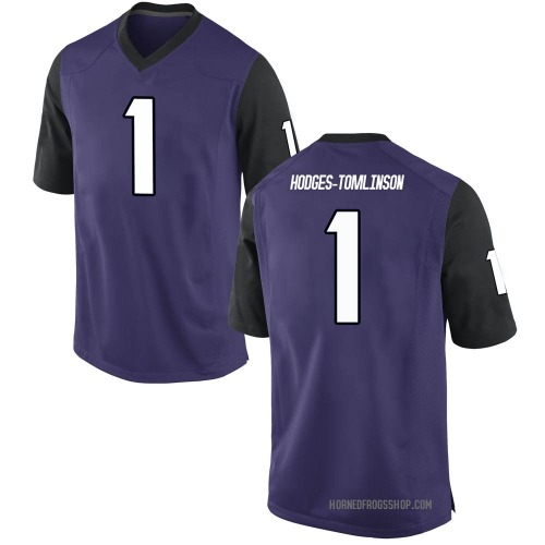 Men's Nike Tre'Vius Hodges-Tomlinson TCU Horned Frogs Replica Purple Football College Jersey