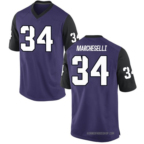 Men's Nike Zach Marcheselli TCU Horned Frogs Game Purple Football College Jersey