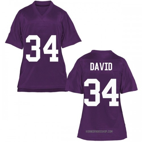 Women's Andrew David TCU Horned Frogs Game Purple Football College Jersey