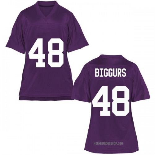 Women's Caleb Biggurs TCU Horned Frogs Game Purple Football College Jersey