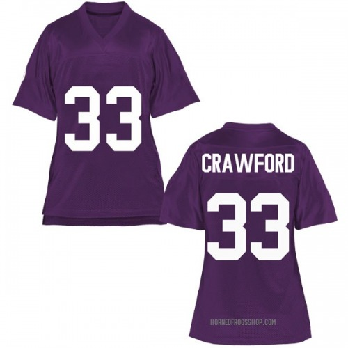 Women's Clayton Crawford TCU Horned Frogs Game Purple Football College Jersey