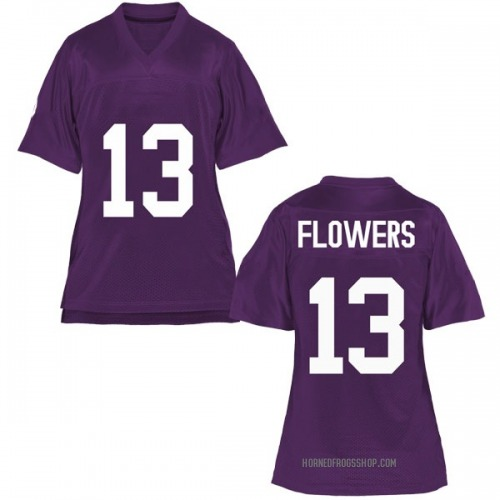 Women's Darrion Flowers TCU Horned Frogs Game Purple Football College Jersey