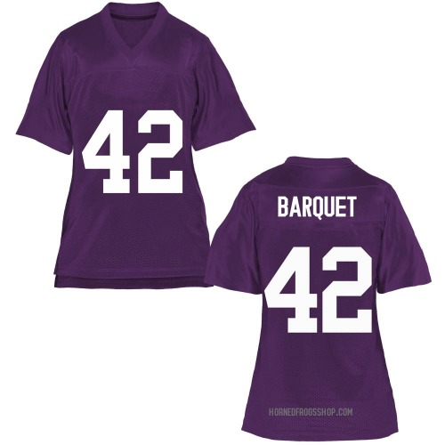 Women's Earl Barquet TCU Horned Frogs Replica Purple Football College Jersey