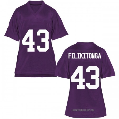 Women's Izaih Filikitonga TCU Horned Frogs Game Purple Football College Jersey