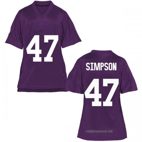 Women's Jacoby Simpson TCU Horned Frogs Game Purple Football College Jersey