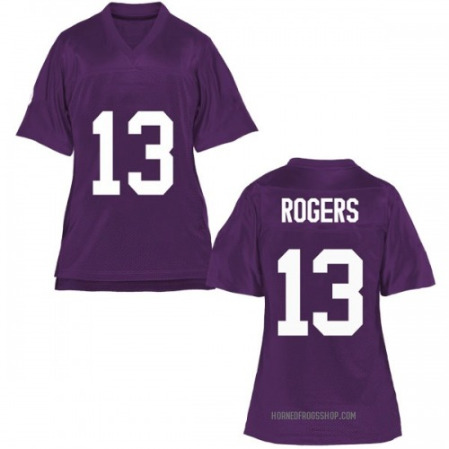 Women's Justin Rogers TCU Horned Frogs Game Purple Football College Jersey