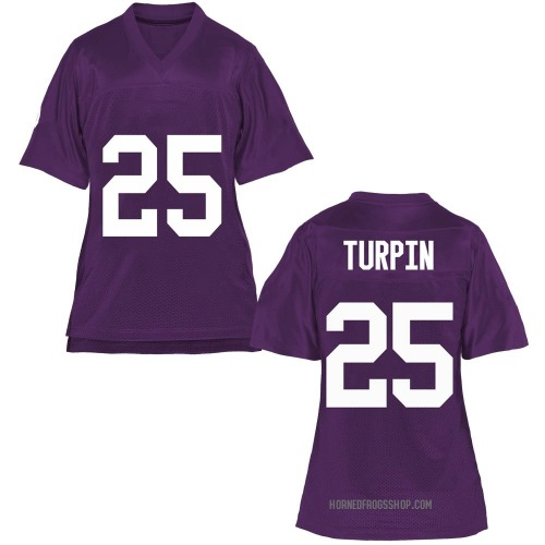 Women's KaVontae Turpin TCU Horned Frogs Game Purple Football College Jersey