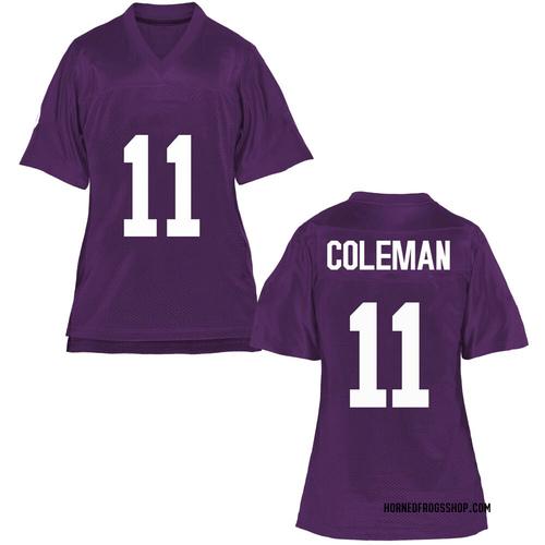 Women's Khari Coleman TCU Horned Frogs Game Purple Football College Jersey