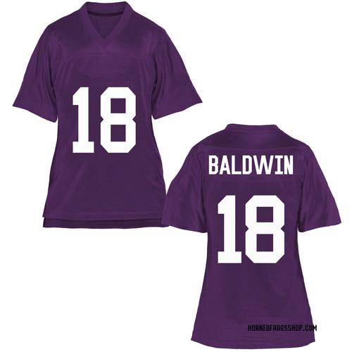Women's Matthew Baldwin TCU Horned Frogs Replica Purple Football College Jersey