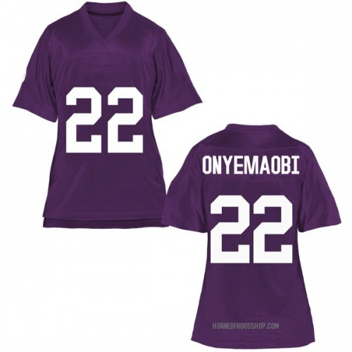 Women's Michael Onyemaobi TCU Horned Frogs Game Purple Football College Jersey