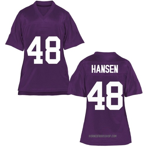 Women's Mitchell Hansen TCU Horned Frogs Game Purple Football College Jersey