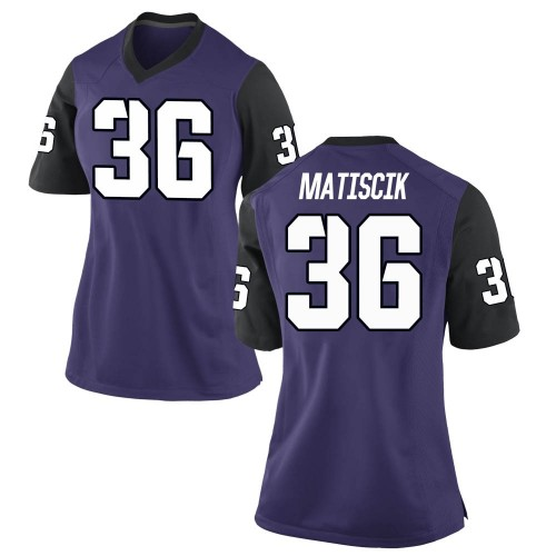 Women's Nike Brent Matiscik TCU Horned Frogs Game Purple Football College Jersey