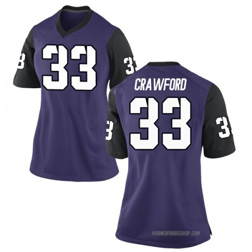 Women's Nike Clayton Crawford TCU Horned Frogs Game Purple Football College Jersey