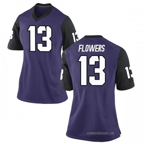 Women's Nike Darrion Flowers TCU Horned Frogs Game Purple Football College Jersey