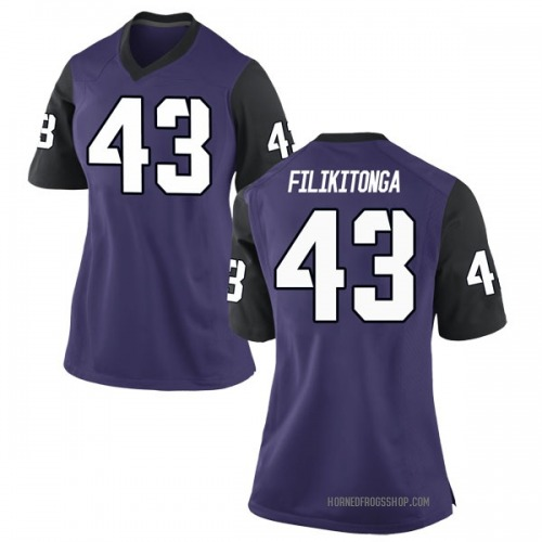 Women's Nike Izaih Filikitonga TCU Horned Frogs Game Purple Football College Jersey