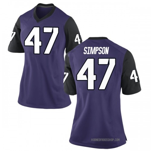 Women's Nike Jacoby Simpson TCU Horned Frogs Game Purple Football College Jersey