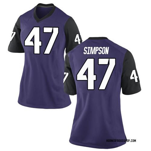 Women's Nike Jacoby Simpson TCU Horned Frogs Replica Purple Football College Jersey