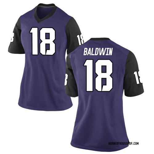 Women's Nike Matthew Baldwin TCU Horned Frogs Game Purple Football College Jersey