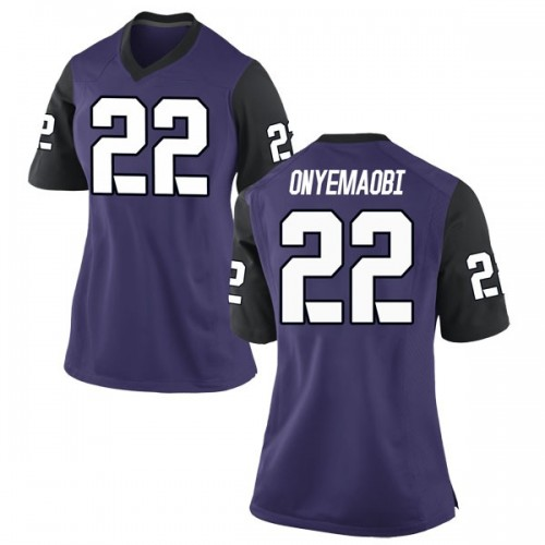 Women's Nike Michael Onyemaobi TCU Horned Frogs Game Purple Football College Jersey