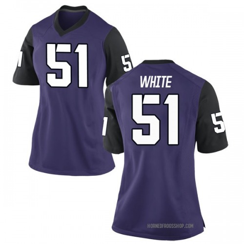 Women's Nike Quazzel White TCU Horned Frogs Game Purple Football College Jersey