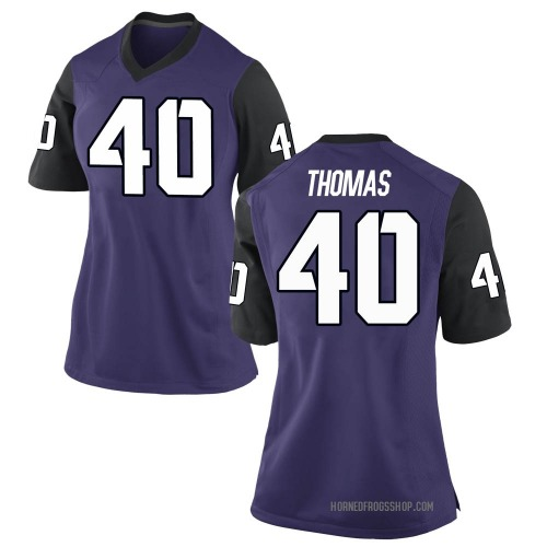 Women's Nike Ray Thomas TCU Horned Frogs Game Purple Football College Jersey