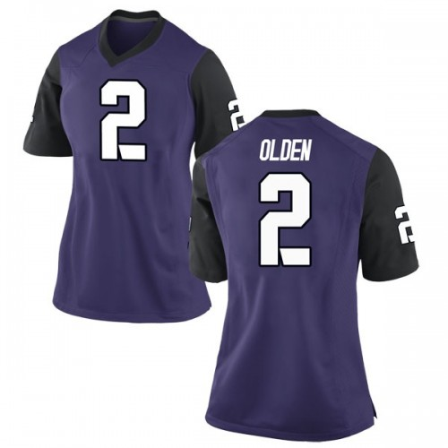 Women's Nike Shawn Olden TCU Horned Frogs Game Purple Football College Jersey
