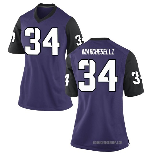 Women's Nike Zach Marcheselli TCU Horned Frogs Game Purple Football College Jersey